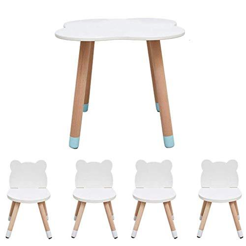 Children's table and chair set Mesa de Madera de los niños + 4 sillas, Mesa de Actividades portátil de Dibujos Animados de bebé, Adecuado for los niños 2-10 años de Edad (Color : A)