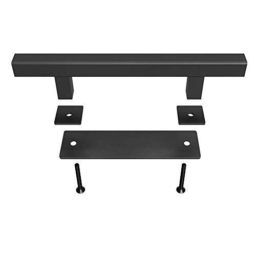 12' Barn Door Handle Pull Black Matte Surface Door Knob with Flush Hardware Set Easy to Install (Hexagon)