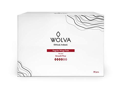 Compresas normales Wolva ecológicas, 38 uds, regulares con alas, de algodón orgánico, biodegradables y sin CO2