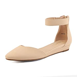 DREAM PAIRS Women's Nude Nubuck Low Wedge Ankle Strap Flats Shoes Size 8 M US Amiga