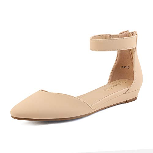 DREAM PAIRS Women's Nude Nubuck Low Wedge Ankle Strap Flats Shoes Size 9 M US Amiga