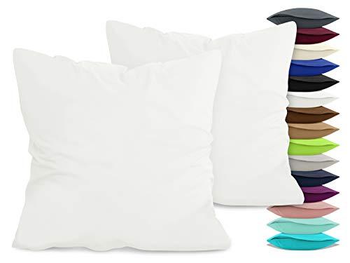 npluseins 2er Pack Baumwoll Kissenbezug - Jersey - viele Farben 1331.1812, ca. 80 x 80 cm, weiß