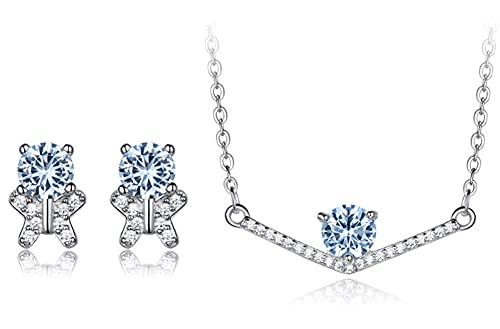 CHXISHOP Conjunto de joyas de mujer con incrustaciones de circonio moda temperamento 925 plata esterlina topacio azul mariposa pendientes collar conjunto de dos piezas
