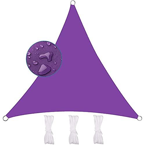 YDHNB Toldo Parasol Triangular, protección contra la Intemperie, Impermeable, Oxford poliéster,protección UV, Resistente Transpirable, para jardín, balcón, Exterior, terraza,Púrpura,3x3x3m