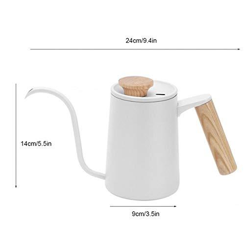 350 / 650ML roestvrij staal giet koffiepotten Koffiezetapparaat Karaffen Lange zwanenhals Uitloop Waterkoker Handdruppelketels Melkopschuimer Waterkoker, Wit 650ml