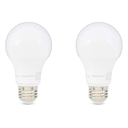 AmazonBasics 60W Equivalent, Soft White, Dimmable, 10,000 Hour Lifetime, A19 LED Light Bulb | 2-Pack