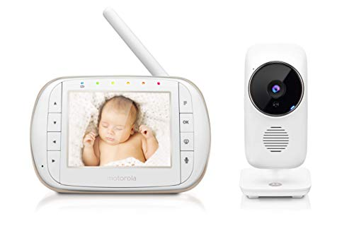 "Motorola Smart Video Baby, Elderly, Pet Monitor with Wi-Fi and 3.5"" Color LCD Display Unit, Night Vision, Two-Way Audio, Room Temperature Display and 5 Lullabies, MBP668CONNECT"