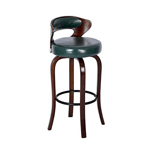 70cm Bar en bois massif chaise peut être pivotée avec Creative Lumière de luxe Dossier haut Accueil Tabouret de bar Café (Color : Green)