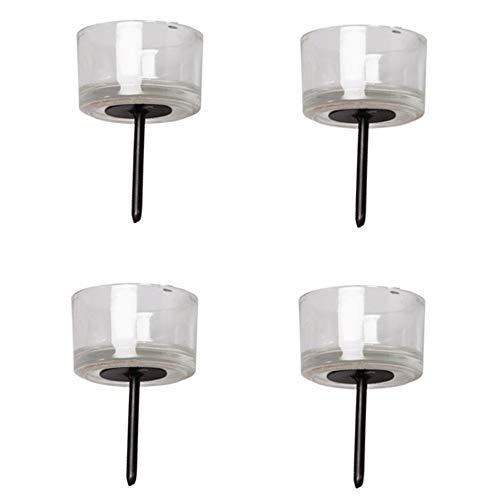 Decpero Teelichthalter aus Glas mit Dorn/Ø 5cm / 4 Stück