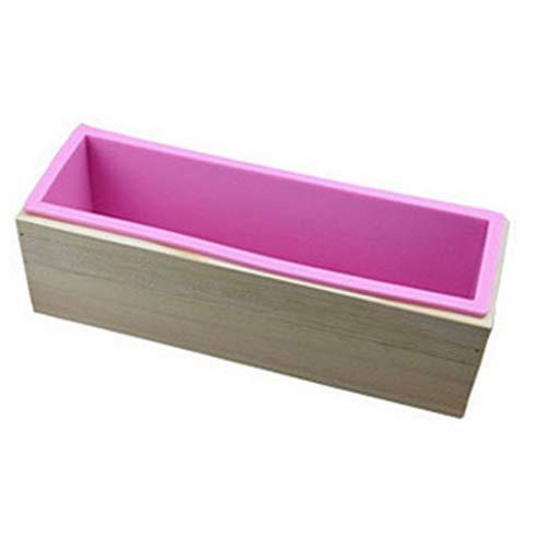 Nicoone Molde de silicona para jabón, caja de madera, herramienta de fabricación de bricolaje, molde de pan de torta con acero inoxidable ondulado