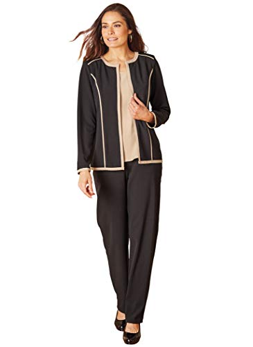 AmeriMark Women's 4-Piece Set – Jacket, Shell Top, Dress & Elastic Back Pants Black/Khaki 20 Misses