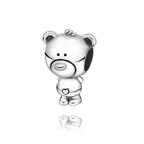 QIAMUCJC 925 Cuentas de Plata esterlina Genuina Theo Bear Charm fit Original Pandora Pulseras joyería de Mujer