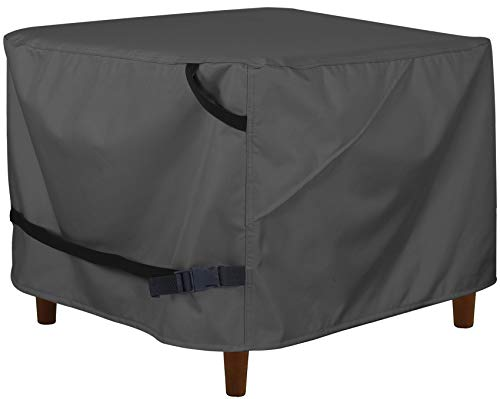 Porch Shield Patio Ottoman Cover - Waterproof Outdoor Square Side Table Covers – 27L x 27W x 18H inch, Black