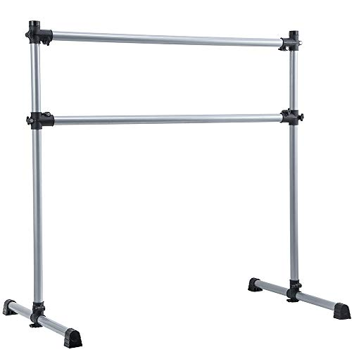 Umeken 4 Foot Portable Ballet Barre, Height Adjustable Freestanding Ballet Bar, Heavy Duty Fitness Dancing Stretching Bar for Home Home or Studio Dancing with Carry Bag, Silver