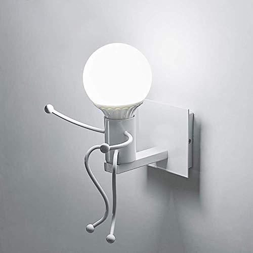 Humanoid Creative Wall Light Lámpara de pared interior Aplique de pared moderno Art Deco Hierro E27 Base para dormitorio, habitación de niños, pasillo, restaurante, escalera, cocina, bombilla no inc