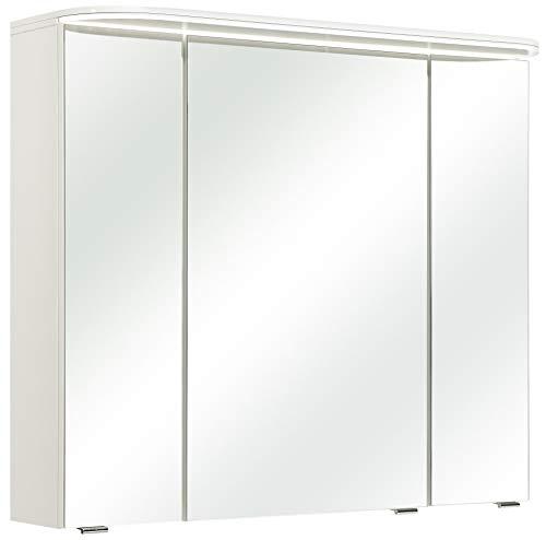 Pelipal Balto Sprint Bad Möbel, Spiegelschrank, LED Beleuchtung, Weiß Glanz 85 cm