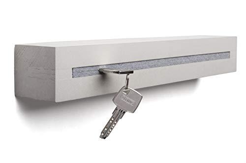Buchenbusch urban design Schlüsselbrett mit Ablage aus Beton Light Edition 33x6x5 cm, Schlüsselboard Wand, Schlüsselaufbewahrung Flur, Grau