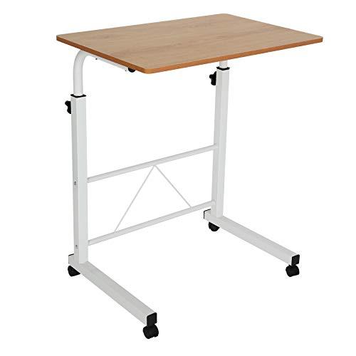 BALLSHOP Beistelltisch Laptop Tisch Schreibtisch Höhenverstellbarer Betttisch auf Rollen Tisch für Bett Braun