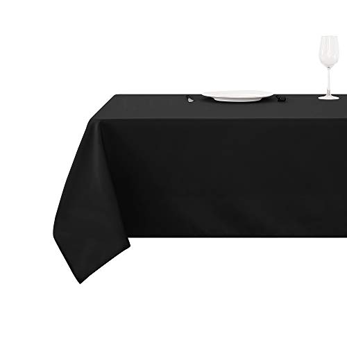 Deconovo Solid Oxford Decorative Square Water Resistant Tablecloth for Dining Room, 54x54-inch, Black