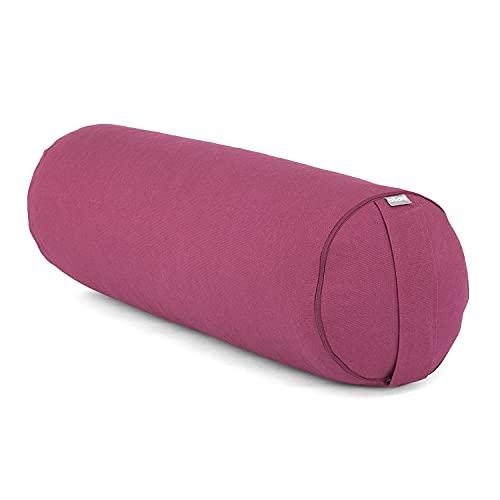 Bodhi Yoga- & Pilates-Bolster Ø 23 cm, Rolle mit Bio-Dinkelspelz-Füllung, Yogakissen für Restorative Yoga mit Trageschlaufe & abnehmbarem Bezug (waschbar) aus Baumwolle (aubergine)