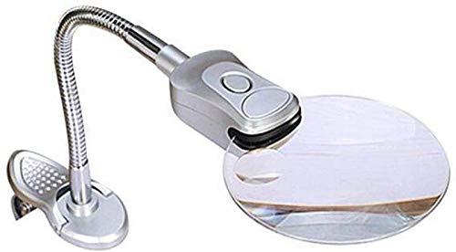 SHKUU Lupa Aumento 2X 6X con luz en el Soporte Abrazadera Brazo Manos Libres Vidrio Iluminado Mesa Escritorio Lámpara Soporte Clip para Leer Pasatiempos Universal