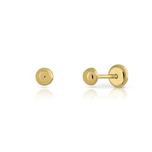 Newborn Baby, Girl or Women Sterling Gold Polished Half Ball Design 4mm Plain Polished Stud Earrings with Maximum Safety Clasp