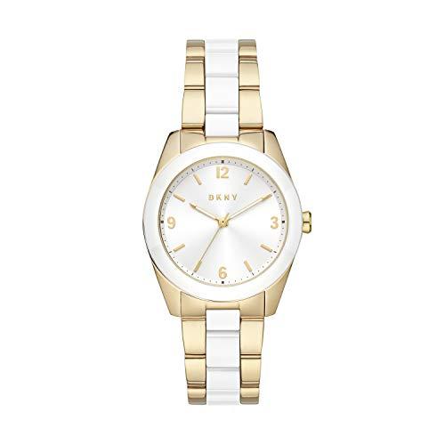 DKNY Women's Nolita Quartz Stainless Steel Three-Hand Watch, Color: Gold/White (Model: NY2907)