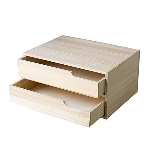 MZXUN Madera sólida Plataforma de Almacenamiento de Escritorio Caja Librería Doble gaveta de Archivos Office Multi-función de Soporte de la Caja de almacenaje 32.6X24X16cm Libro