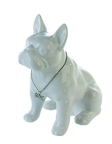 Spardose Bulli Bulldogge sitzend aus Keramik weiss Hund Kunst Art Figur