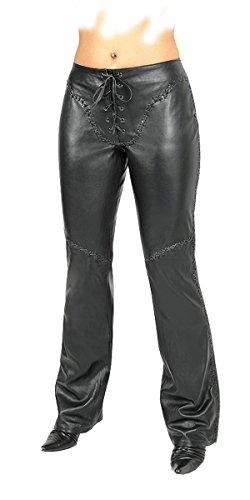 Fuente Leather Wears -  Pantaloni - Boyfriend - Donna Nero 37