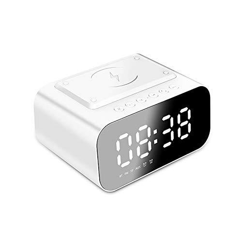 YUNYODA Radio Reloj Despertador con Altavoz Bluetooth,Reloj Despertador de cabecera con Carga inalámbrica para teléfono,Radio Reloj Despertador con Pantalla LED Regulable de 3 Niveles para el hogar