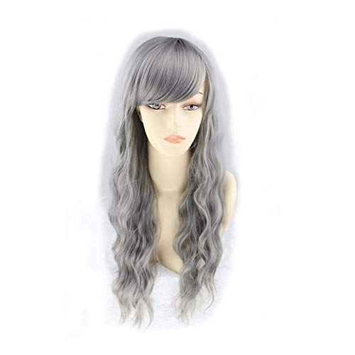 ZiWen Lu Grandma - Parrucca per capelli lunghi e soffici a cono femminile (colore: Cenere di latte)