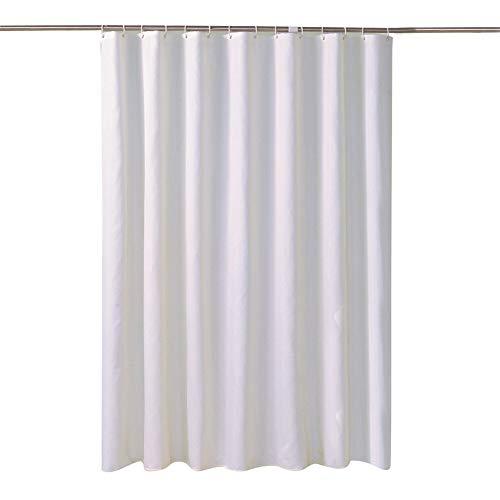 Reinweißer Duschvorhang aus Polyester, Dickes &urchlässiges Tuch Hotel wasserdichte Badezimmer-Duschvorhänge, B180Xh200Cm