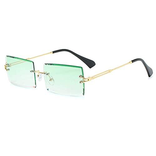 LASPOR Retro Rimless Rectangle Sunglasses for Women Men Tinted Lens Gold Metal Frameless Vintage Square Glasses UV400 Protection Green gradient