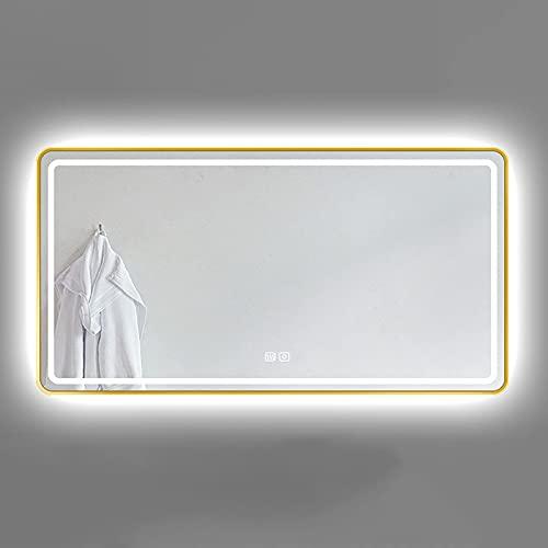 ZCZZ Espejo de baño con iluminación LED, espejo rectangular montado en la pared con marco de metal, sensor táctil y 3 colores de luz, brillo de luz ajustable, horizontal/vertical, dorado