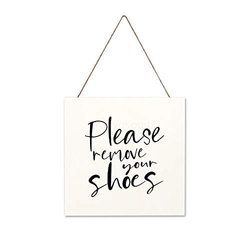 """Letrero de madera colgante con texto en inglés """"With Saying Please Remove Your Shoes"""", rústico, vintage, decoración para sala de estar, dormitorio, boda, 30 x 30 cm"""