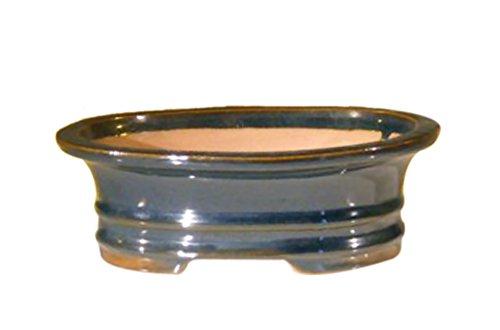 Bonsaiboy Blue Ceramic Bonsai Pot - Oval 7.0 x 5.5 x 2.375