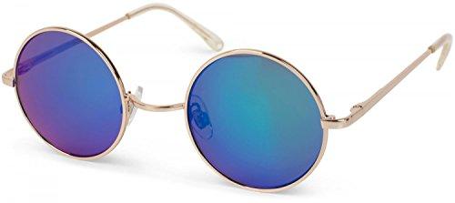 styleBREAKER runde Sonnenbrille mit schmalem Metall Gestell, Retro Design, Bügel mit Federscharnier, Unisex 09020065, Farbe:Gestell Gold/Glas Grün-Blau verspiegelt