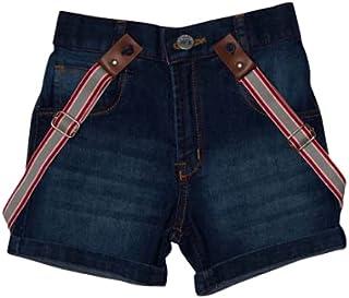 Little Kangaroos Boys Denim Short With Suspender, Dark Blue - ROGS2019139A