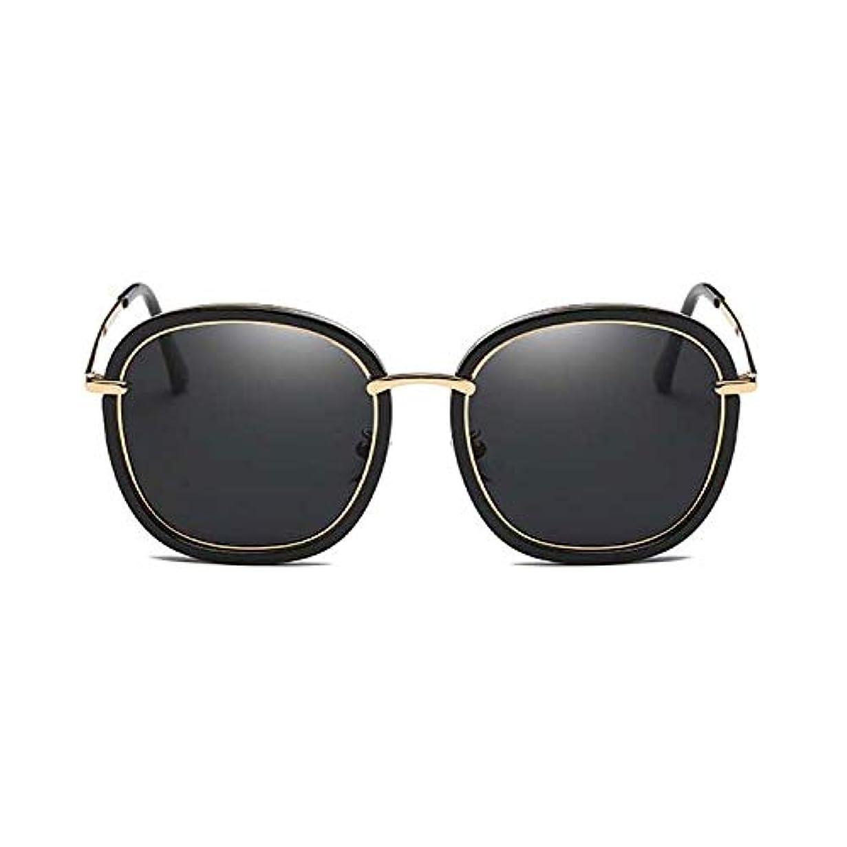 速報銅バイナリDiffomatealliance Glasses メガネファクトリー女性ファッションUV400ラウンドフレーム偏光サングラス(ブラック+グレー)