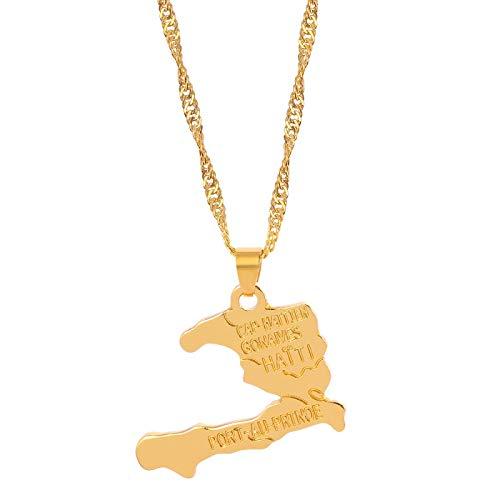 Collar de mapa de Haití colgante de mapa para mujeres niñas cadena de glamour joyería de Color dorado regalo accesorios de joyería elegantes
