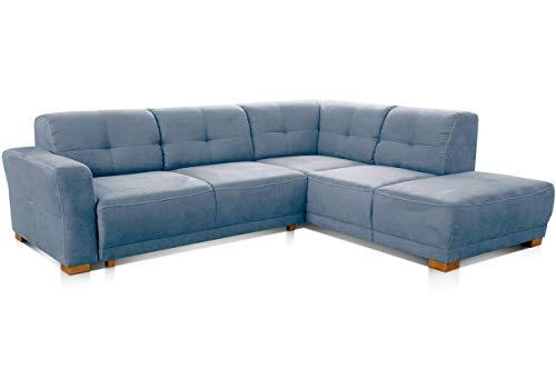 Cavadore Schlafsofa Modeo, mit Federkern, Sofa in L-Form mit Schlaffunktion im modernen Landhausstil, Holzfüße, 261 x 77 x 214, Mikrofaser-Bezug, blau