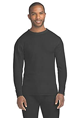 Hanes Men's Waffle Knit Thermal Crew Neck Long Sleeve T-Shirt with FreshIQ, X-Temp Technology & Organic Cotton Black