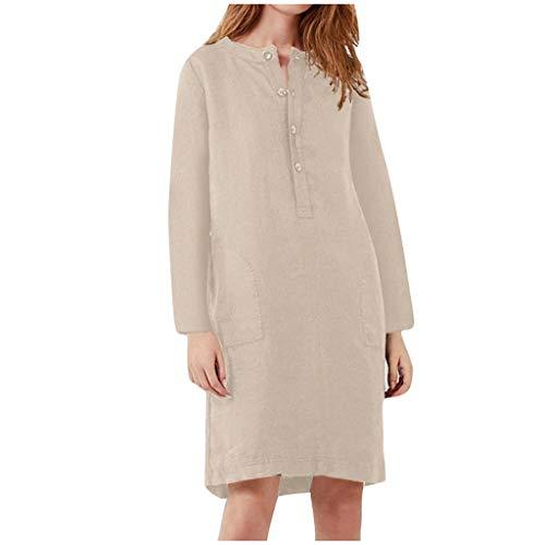 FOTBIMK Vestido de mujer de algodón y lino cuello redondo manga corta color sólido costura vestido