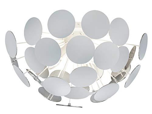 Opvallende plafondlamp met een lampenkap in mat wit/zilverkleurig Ø 54 cm met 3x E14 LED - bijzondere plafondverlichting