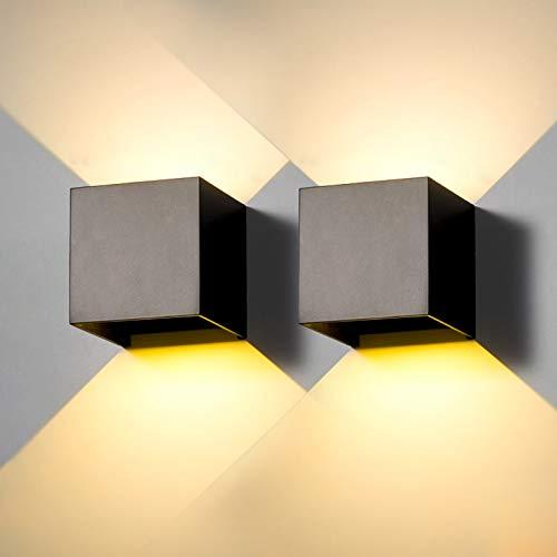 2 Pezzi Applique da parete Esterno LED Lampada da Esterni Interno Moderno Nero 12W Bianco Caldo 3000K IP65 Lampade Muro Impermeabile Quadrata Alluminio su e Giù Regolabile Design Facile Da Installare