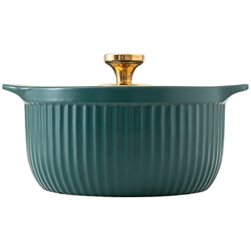 Cazuela Cazuela de cerámica Sin Aislado Plato Aislado Alimentos Utensilios de Cocina Calentador Olla con Tapa Cocina casera (Color : Green 2.5L)