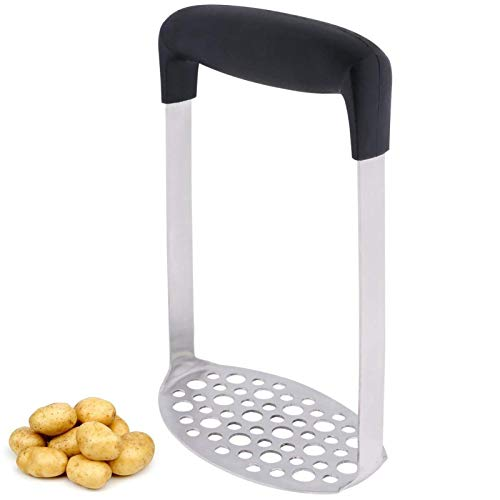 Axgo Stainless Steel Potato Masher with Non-slip Handle, Premium Potato Ricer with Ergonomic Comfort Grip, Versatile Masher Hand Kitchen Tool for Mashed Potatoes, Baby Food, Vegetables and Fruits