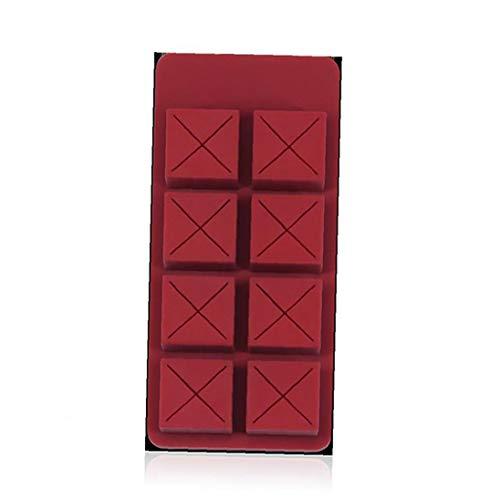 1pc Silikagel Lippenstift Organizer 8 Slot Schokoladen-lippenstift-halter Kosmetikhalter Vitrine Heavy Metal Embedded Anti-rutsch-tragbare Lippenstifte Aufbewahrungsbehälter (dunkelrot)