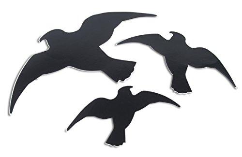 Windhager Vogel-Silhouetten Vogelaufkleber Fensterschutz, schützt Vögel vor transparenten Großflächen, 3 Stück, 07116